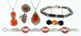 Two Carnelian, Marcasite, And Sterling Silver Pendant