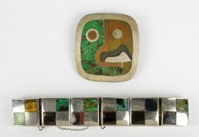 A Los Castillo Mexican Silver And Inlay Brooch.