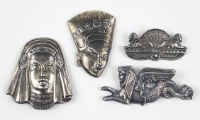 Two Truart Egyptian Revival Sterling Silver Brooches.