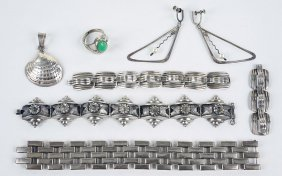 A Collection Of Mexican Silver Jewelry.