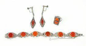 A German Carnelian, Marcasite, And Sterling Silver
