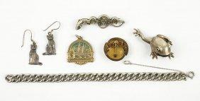 A Victorian Carved Metal Link Bracelet.