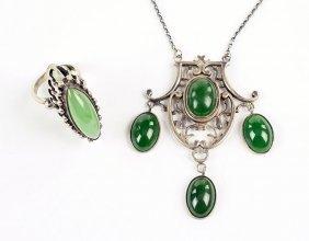 An Art Nouveau Nephrite Jade Necklace.