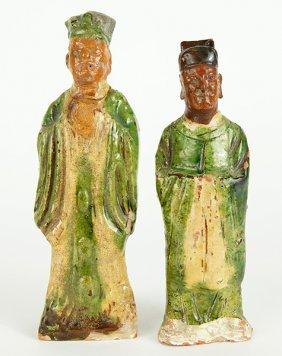 Two Sancai Glazed Terra Cotta Figures.