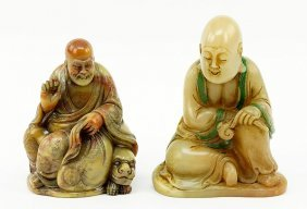 Two Chinese Carved Soapstone Figures.