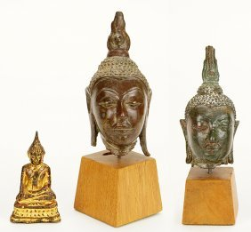 Two Chinese Qing Dynasty Bronze Heads Of Buddha.