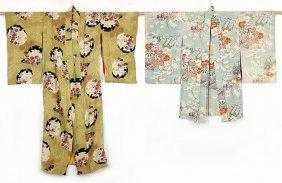 A Japanese Silk Crepe Full Length Kimono.