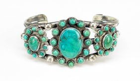 A Native American Turquoise And Silver Bracelet.