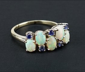 An Opal And Sapphire Ring.