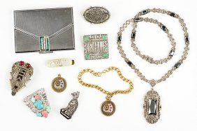 A German Art Deco Marcasite And Silver Necklace.