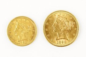 Two American Gold Coins.