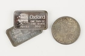 Two Alaskan Oxford One Troy Ounce Silver Bars.