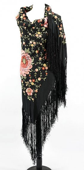 An Embroidered Silk Piano Shawl.