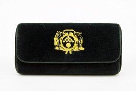 A Bottega Veneta Black Velvet Handbag.