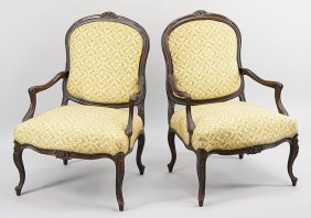 A Pair Of Carved Mahogany Fauteuils.