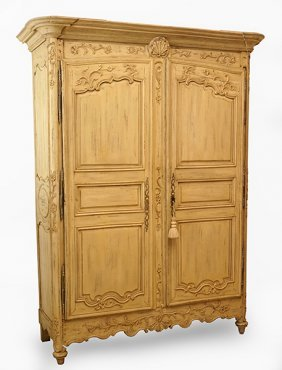 An 18th Century French Whitewashed Armoire.