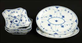 Two Royal Copenhagen Blue Fluted Full Lace Oval Serving