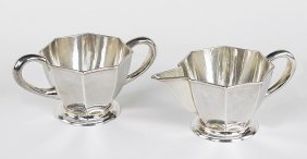 A Kalo Sterling Silver Creamer And Sugar Bowl.