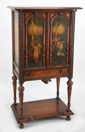 A Painted Wood Music Cabinet.