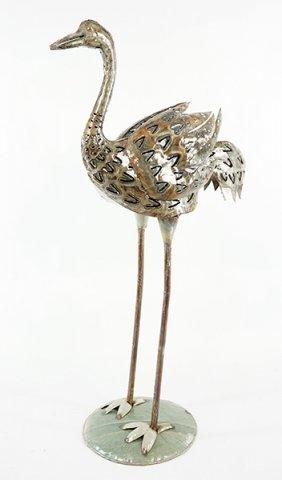 A Patinated Metal Sculpture Of A Flamingo.
