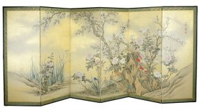 A Chinese Six-panel Floor Screen.