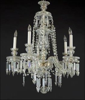 A Cut Crystal Five-light Chandelier.