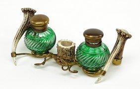 A Horn And Brass Inkstand.