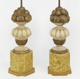 A Pair Of Carved Wood Lamps.