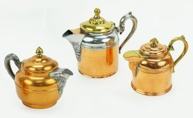 A Manning Bowman Copper And Brass Teapot.