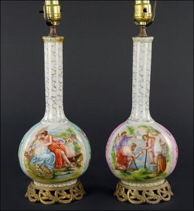 A Pair Of Continental Porcelain Bottle Form Table
