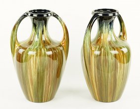 A Pair Of English Glazed Ceramic Double Handled Vases.