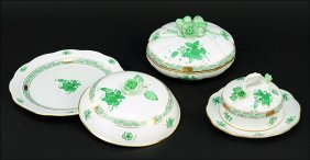 A Herend Hungary Porcelain Round Covered Butter Dish.