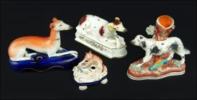 A Group Of Staffordshire Pottery Figures Of Animals.