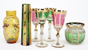 A Collection Of Moser Gilt Glass Table Articles.