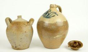A W.j. Gourdy Glazed Pottery Pitcher / Dish.