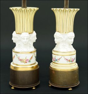 A Pair Of French Porcelain Table Lamps.