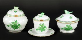 A Herend Hungary Porcelain Jam Pot With Lid And