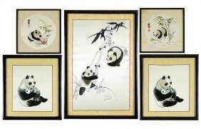 A Group Of Five Chinese Framed Embroideries.