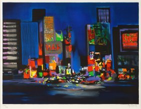 Marcel Mouly (french, 1918-2008) Times Square.