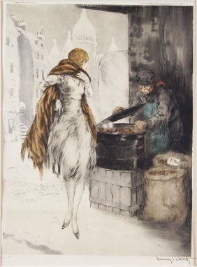 Louis Icart (french, 1888-1950) Marchand De Marrons.