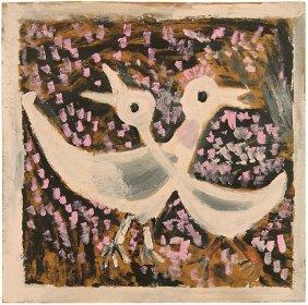 Jimmy Lee Sudduth (american, 1910-2007) Two Birds.