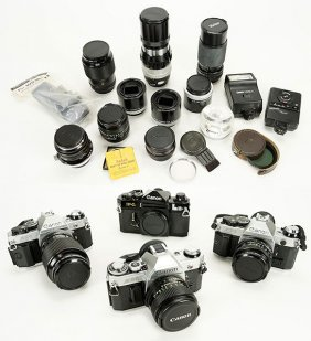 A Collection Of Canon Cameras.
