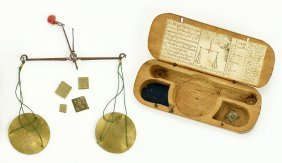 An 18th Century Sommerss Scale And Weight Set.
