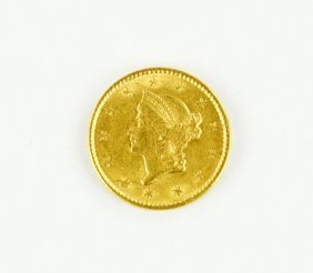 An 1852 Indian Princess Head Gold Coin.
