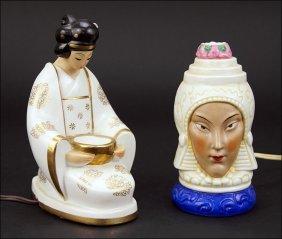 Two Ceramic Perfume Lamps.