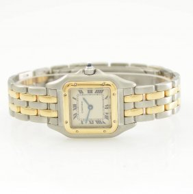 Cartier Panthere Ladies Wristwatch In Steel/gold