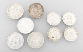 Lot 9 Silver Coins, Free And Hanseatic City Ofhamburg