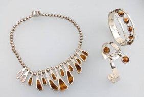 Lot Mexican Jewelry With Tiger`s-eye