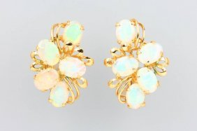 Pair Of 14 Kt Gold Earclips With Opals,