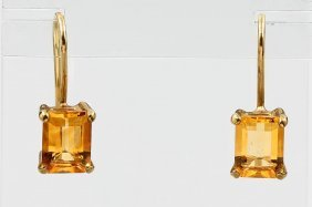 Pair Of 8 Kt Gold Earrings With Citrines,